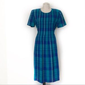 Vintage Pleated Bodice Plaid Print Summer Dress Si